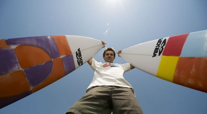 Webby with surfboards